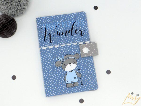 """Mutter-Kind-Pass-Hülle, """"unser kleines Wunder"""" in blau"""